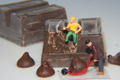 Overtime at the Chocolate Chip Factory (Explored) (katerha) Tags: chocolate littlepeople chocolatechips culinarydelights macromondays railroadfigures macomondays havingfunwithfood chocolatechipfactory gottalovethechocolate