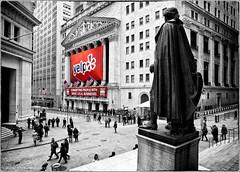 Washington watching over Wall Street (Jeff_B.) Tags: nyc newyorkcity newyork money sc washington downtown manhattan financialdistrict yelp wallstreet finance customshouse selectivecolor georgewahtington