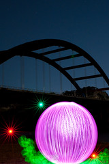 Full Orb! (TxPilot) Tags: longexposure bridge light lightpainting night austin painting stars star nikon paint texas orb starburst balloflight elwire 360bridge lightpaint pennybackerbridge electroluminescentwire d700