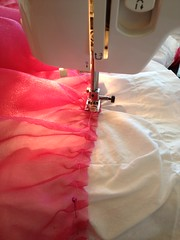 Sewing on the ruffle