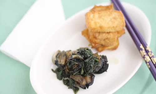 Apple Snails with perilla and tofu