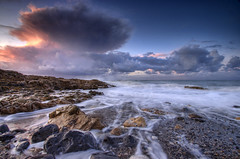 'An Autumn Seascape' - Black Point, Anglesey (Kristofer Williams) Tags: sunset seascape beach landscape coast rocks surf waves stormy coastline a200 hdr cloudscape blackpoint anglesey 10mm penmon