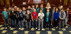 Students from the Laurel Ledge School visit the Hall of the House of Representatives during a tour of the State Capitol and Legsilative Office Building