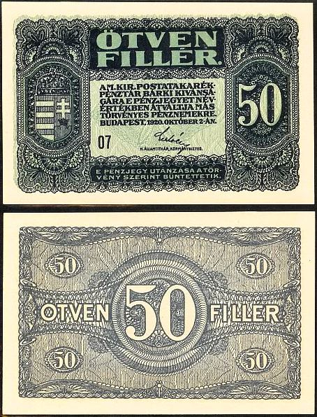50 Fillér Maďarsko 1920, Pick 44