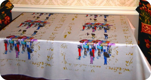 Chinese Grandmas on French Script, printed on Cotton Silk fabric
