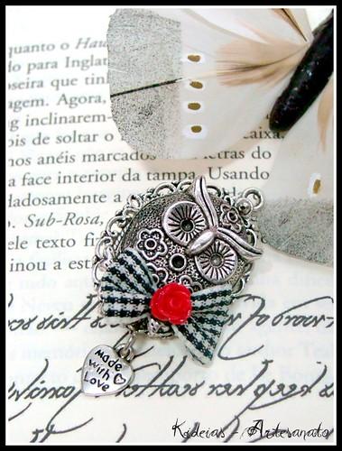 Pregadeira mocho prata envelhecida by kideias - Artesanato
