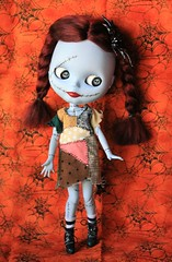 Jack is in my eyes  (velvetchi) Tags: family love halloween jack amazing doll ooak spooky sally mohair scarey stitches blythe custom nightmarebeforechristmas reroot blythefairy phillaine thankyouphillaine bigbatclip spiderwebclip