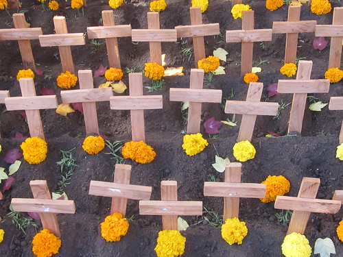 Wooden Crosses and Marigolds