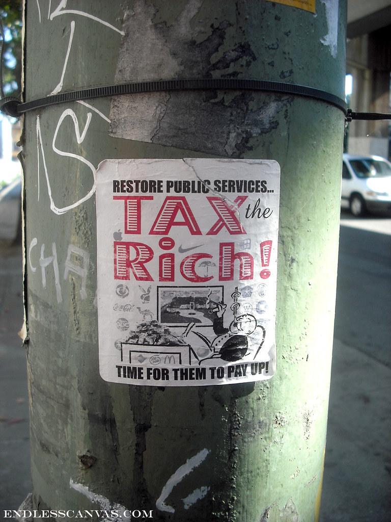"""""""TAX THE RICH"""" sticker- Oakand, Ca"""