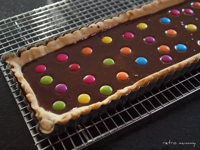 smarties tart ready for the fridge