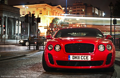 Super sport! (BjornNieborg) Tags: red colour london english night continental bentley supersports 2011