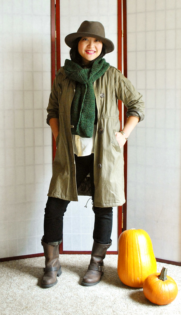 Fall Outfit - Military Green Coat - Wide Brimmed Hat - Hunter Green Chunky Scarf