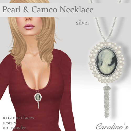 Caroline's Jewelry Pearls & Cameo Necklace Silver