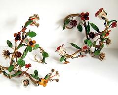 Vintage Italian sconces (calloohcallay) Tags: flowers italy vintage italian iron painted wroughtiron sconce candleholder florentine wallsconce calloohcallay