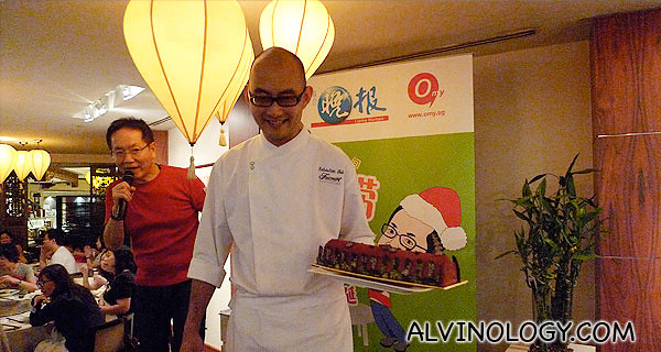 Chef introducing his surprise dish