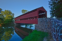 Sachs Bridge-Gettysburg,Pennsylvania (1Jimbo1) Tags: bridge light summer usa reflection water creek canon pennsylvania august battle gettysburg civilwar sachs sachsbridge doubleniceshot flickrstruereflection1