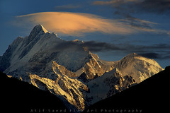 Mount Malubiting 7458m.. (M Atif Saeed) Tags: pakistan mountain mountains nature clouds sunrise landscape karakoram northern northernareas gilgit skardu 7409 haramosh atifsaeed