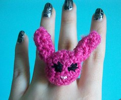Pink Bunny Crochet Ring (Mooy) Tags: cute animal crochet jewelry rings kawaii amigurumi mooeyandfrineds