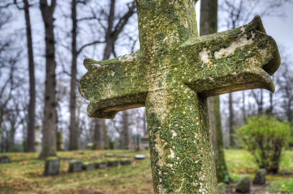 Stone crucifix in Forest Hill Cemetery