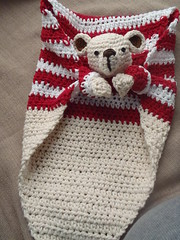 Bear lovey blanket (ruali) Tags: bear baby love kids babies handmade nursery crochet cream yarn cotton gift blanket etsy amigurumi striped aline lovey keepsake croche oxente ruali