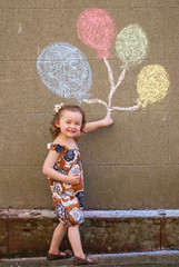 (*karly*) Tags: girl balloons chalk child drawing