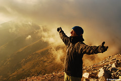 (.:: Maya ::.) Tags: sunset man clouds joy peak pirin vihren     mayaeye mayakarkalicheva   wwwmayaeyecom