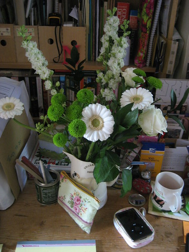 Flowers on my desk from G
