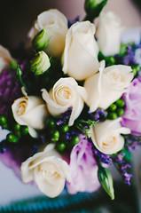 Bridal Bouquet (KelsieTaylor) Tags: flowers wedding roses white green purple ivory lavender dreamy bouquet bridalbouquet
