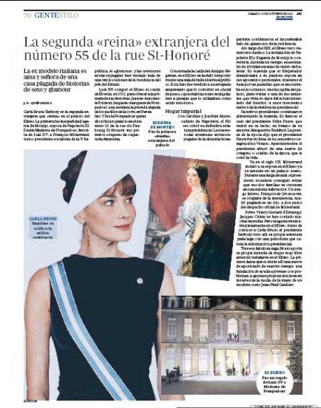11j15 Carla Bruni segunda reina extranjera en el Elíseo copia