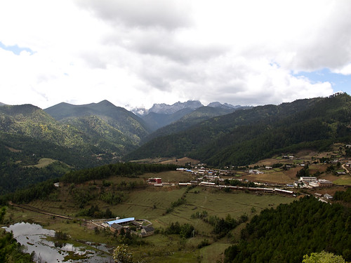Village + mountains