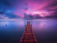 Sunrise at Pampelonne Beach (jpmiss) Tags: longexposure sunset beach colors night clouds sunrise cotedazur cloudy couleurs jetty nuages plage var ramatuelle sainttropez frenchriviera pampelonne méditérranée pampelone jpmiss e620