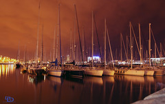 Midnight Barcelona Port (Othman Al Duwaihey) Tags: barcelona light color colors clouds port boats photography lights boat google flickr o d midnight od        blinkagain