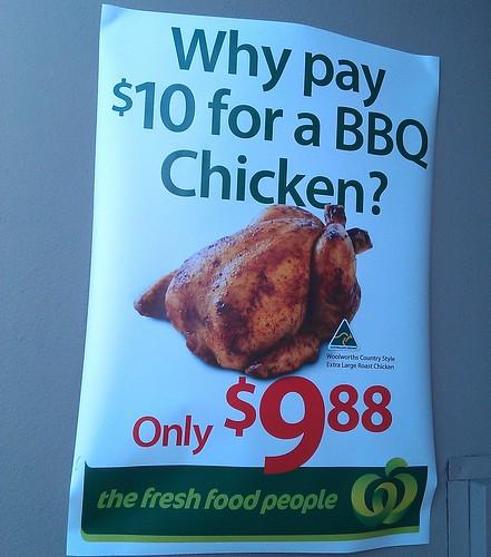 Woolworths: Roast chicken $9.88