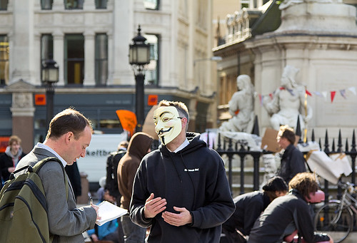 Anonymous (UK) at anti-capitalism occupation, St Paul's, London