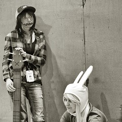 you just think the bunny is the bait (bytegirl24) Tags: newyorkcity bw bunny costume comic cosplay manhattan comiccon javitscenter nycc