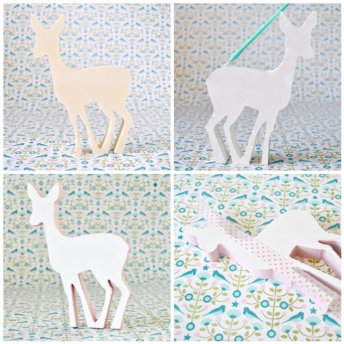 Polka dot wooden deer steps 1-4