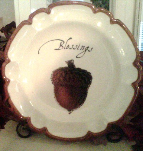 decorative plate, seasonal, Fall, decor, acorn, blessings, mantel