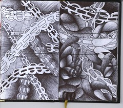 0020 (bjw-draw) Tags: blue black line draw artjournal ballpointpen foundbook zentangle