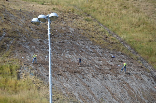 Workers shore up the K90 jump at Howelsen Hill.