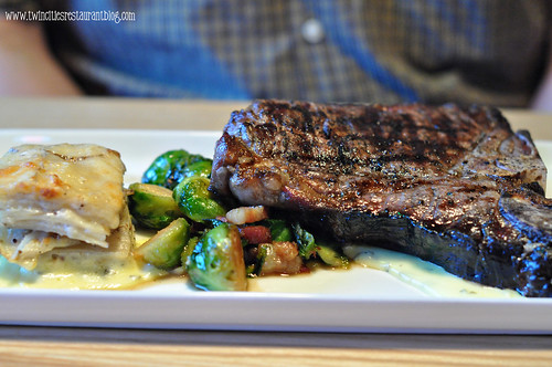 Porterhouse Steak with Au Gratin Potatoes and Brussel Sprouts at The Hanger Room ~ Willernie, MN