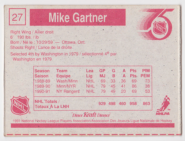 Kraft Dinner - Mike Gartner - Back