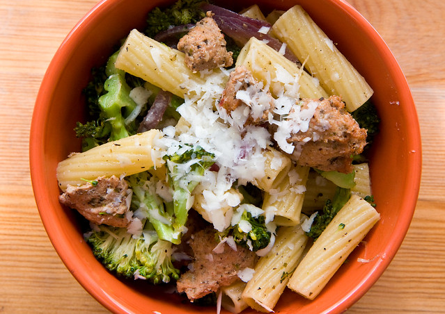 Pheasant sausage, broccoli, and rigatoni
