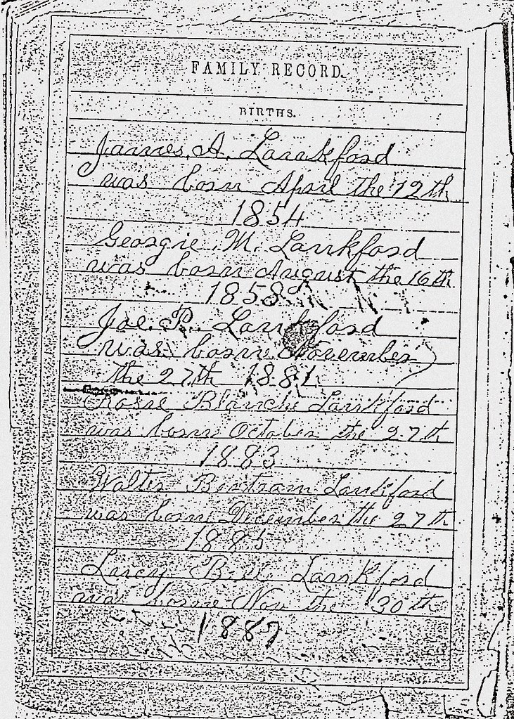 James A Lankford Family Bible Page Three