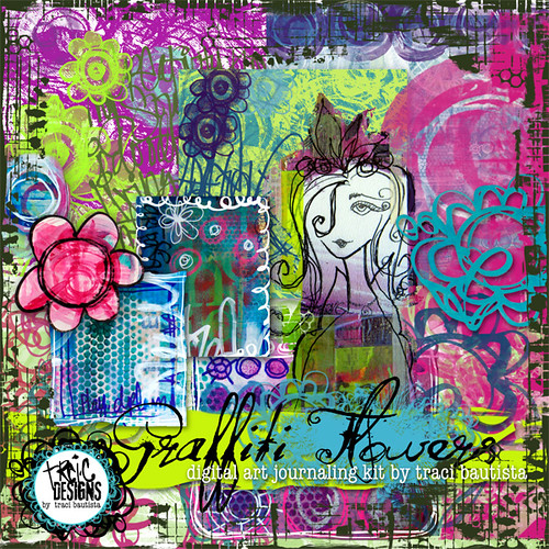 graffiti flowers digital art journaling kit by traci bautista
