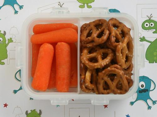 snack bento: carrots & pretzels