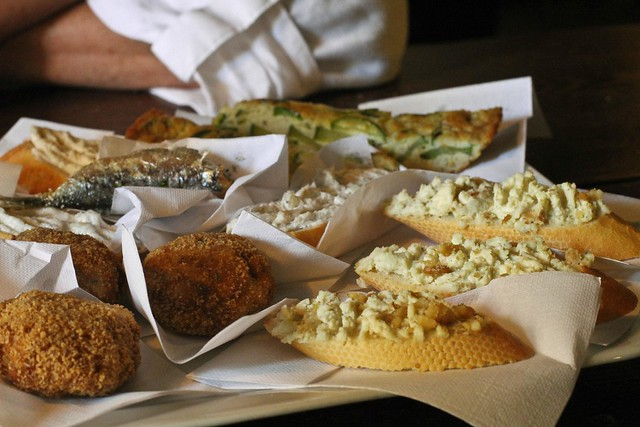 Cicchetti, snacks / little bites, in Venice, Italy