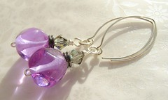 Violet Ice Sparkle (Glittering Prize - Trudi) Tags: glass silver beads purple crystal handmade violet craft jewellery swarovski earrings nuggets trudi lampwork artisan sra glitteringprize