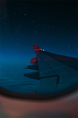 (daniela beckmann) Tags: sky night plane airplane stars swiss aircraft wing himmel nightflight airbus flugzeug sterne nachtflug swissinternationalairlines a340300 wingview