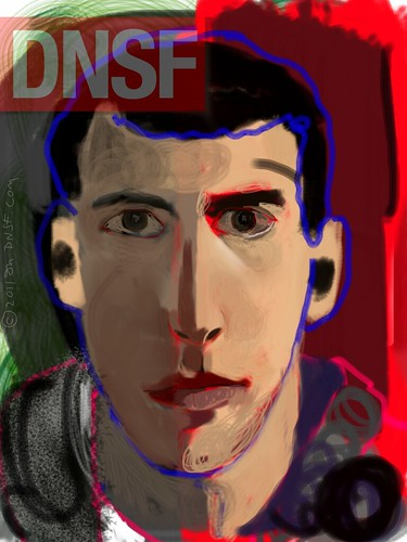 iPad Portrait of Jacob Blacksberg Painted from Life at Home by DNSF David Newman