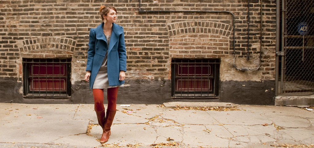 outfit blog, dashdotdotty, tights, fall, how to, orange, blue, gray, vintage boots